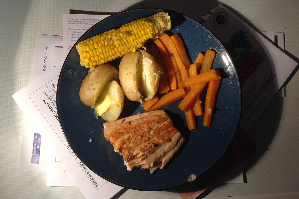 Love the story this tells! It's dark because I had to disconnect the downstairs lights because of a water leak, you can see all the bills and paperwork behind, yet it's a really 'proper meal' (fish and three veg no less) because I just got my oven.