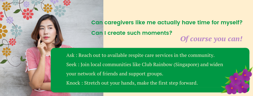 (Graphics)When can caregivers like me actually have time for myself_ Can I create such moments_ Of course you can!- Ask _ - Seek _ Reach out to available respite care services in the community - Knock _ .png