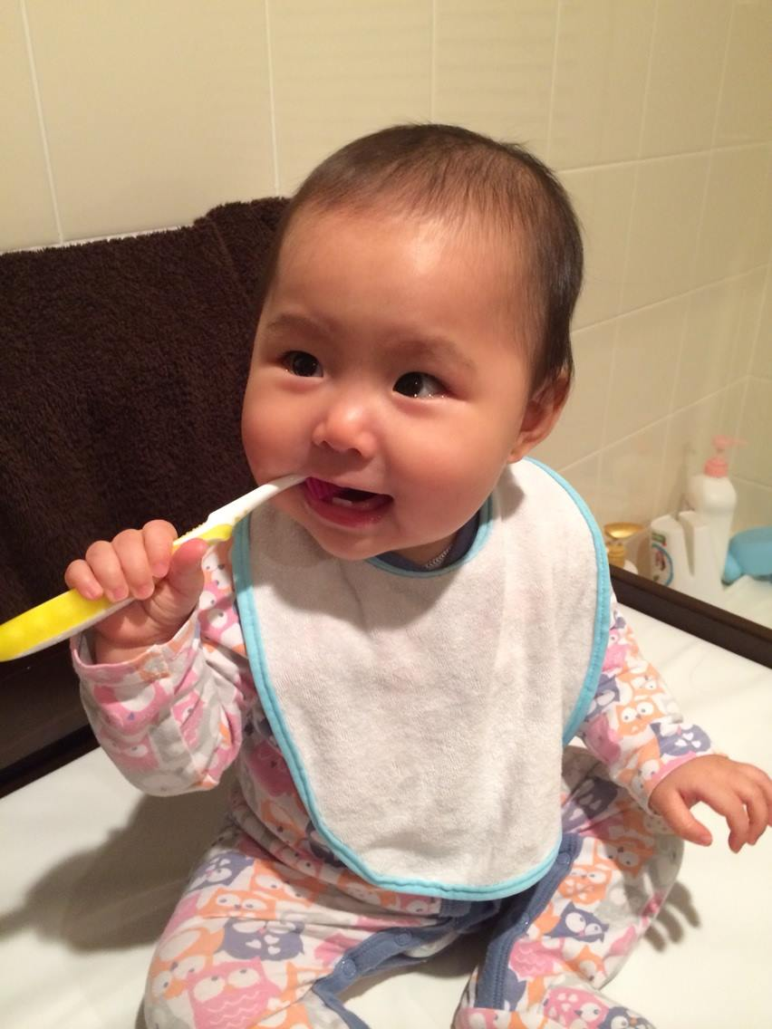 This was the first time she brushed her teeth!