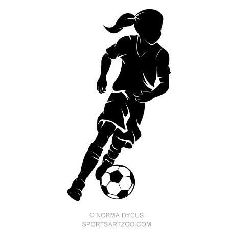 Girl Dribbling a Soccer Ball Silhouette — SportsArtZoo