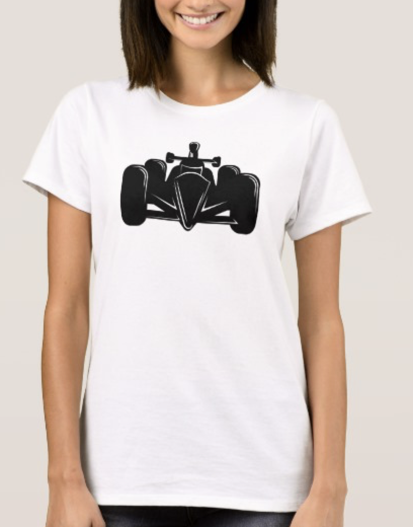 Indy Style Race Car Woman Light T-shirt