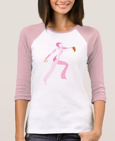 Pink Ribbon Pitcher Jersey Style Women's T-shirt