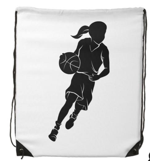 Young Girl Dribbling Basketball Silhouette Drawstring Backpack