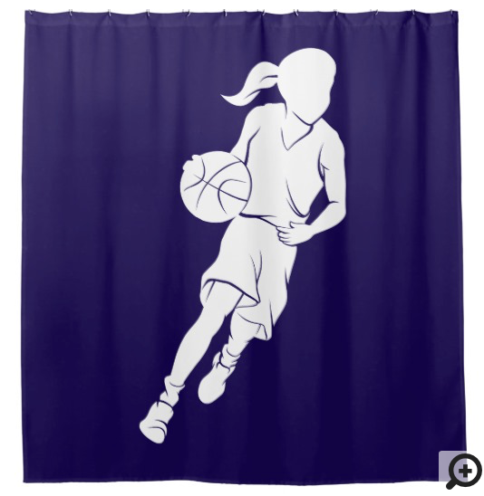 Young Girl Dribbling Basketball Silhouette Shower Curtain
