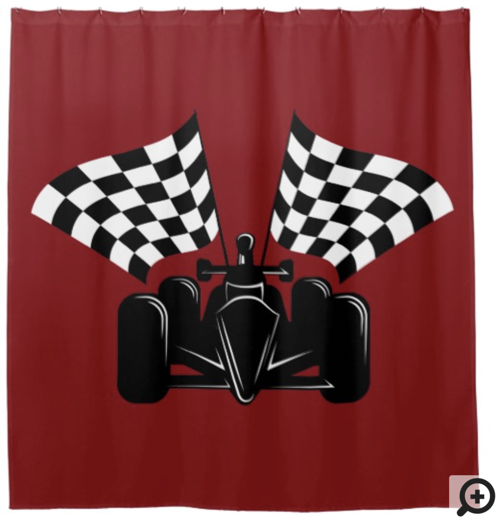 Indy style of race car with checked flags shower curtain
