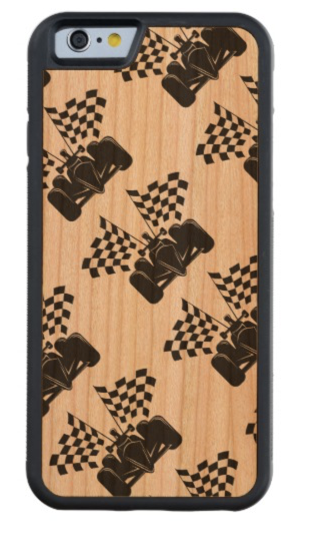 Indy Race Car with Checked Flags Carved Cherry iPhone 6 Bumper Case