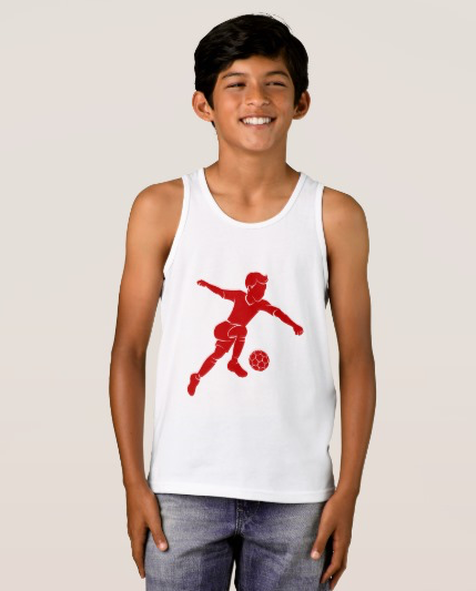 Soccer Boy Kicking Silhouette Tank Top