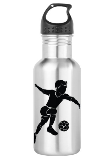Soccer Boy Kicking Silhouette Water Bottle