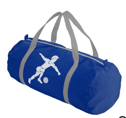 Soccer Boy Kicking Silhouette Duffle Bag