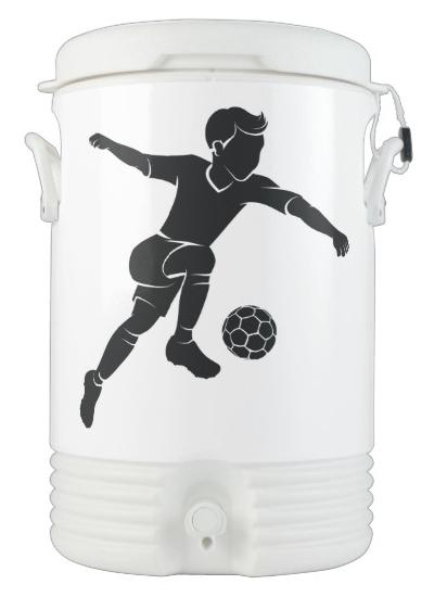 Soccer Boy Kicking Silhouette Cooler