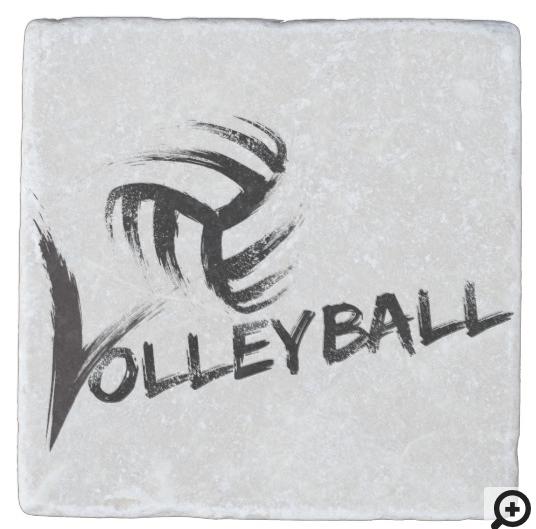 Volleyball Grunge Streaks Stone Coaster