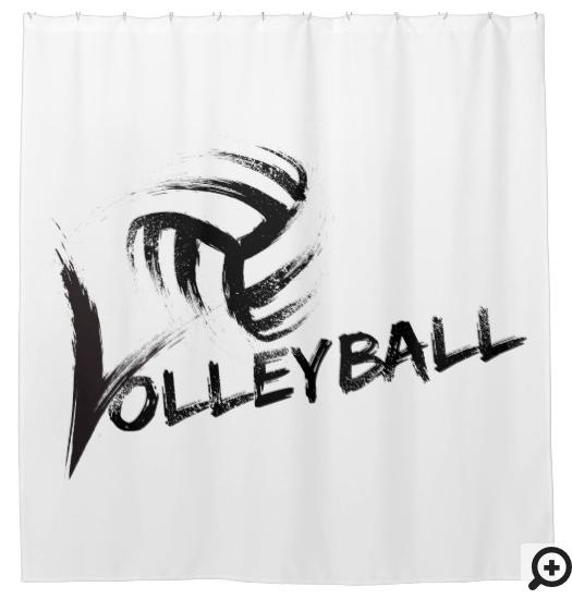 Volleyball Grunge Streaks Shower Curtain