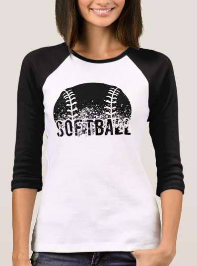 Grunge Softball Jersey Style Women's T-shirt