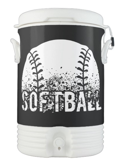 Grunge Softball Igloo Beverage Cooler