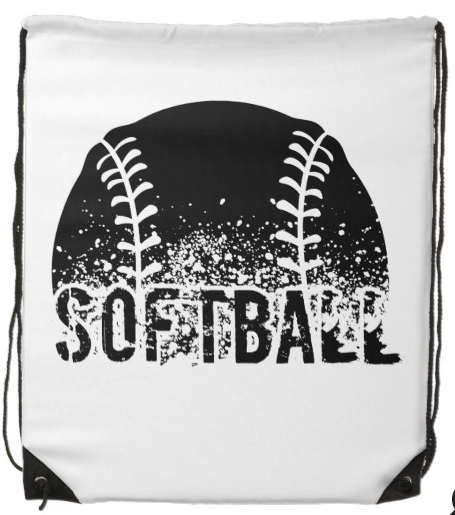 Grunge Softball Drawstring Backpack