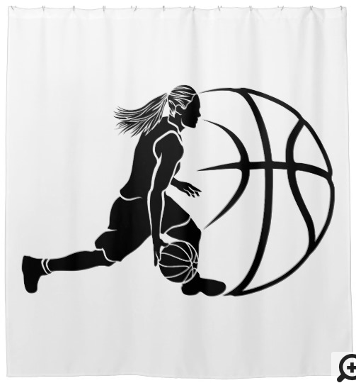 Girl Basketball Silhouette With Ball Shower Curtain