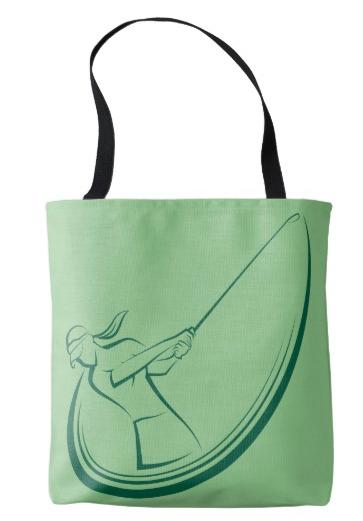 Woman Golfer Mid-swing Tote Bag