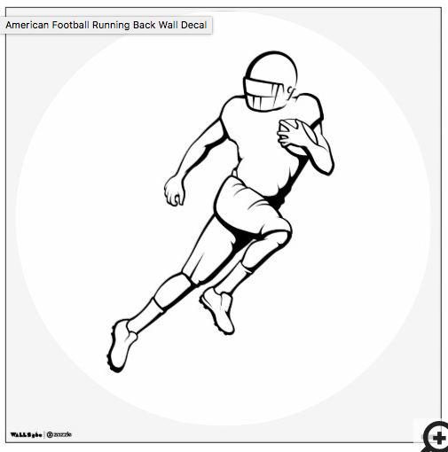 American Football Running Back Wall Decal