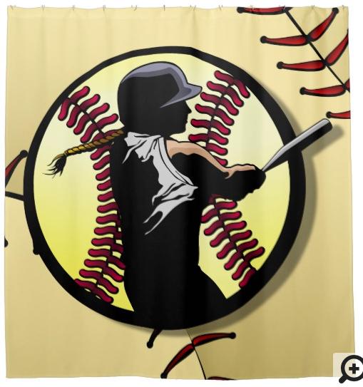 Softball Batter In Ball Shower Curtain