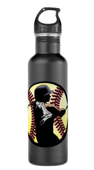 Softball Batter Closeup Water Bottle