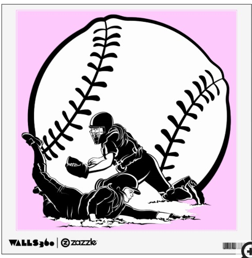 Softball Slide Home Wall Sticker