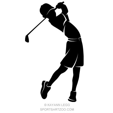 boy golfer silhouette