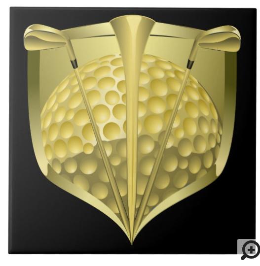 Gold Golf Shield on Black Tile