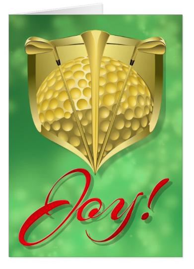 Golf Gold Shield with Word Joy Card