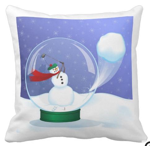 Golf Snowman Snow Globe Pillow