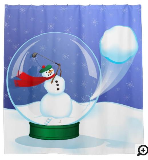 Snowman Golfer in a Snow Globe Shower Curtain