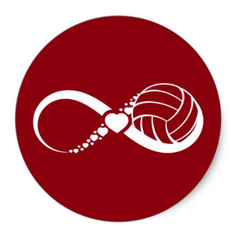 Volleyball Love Infinity Classic Round Sticker