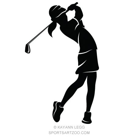 Girl Golfer Silhouette Sportsartzoo