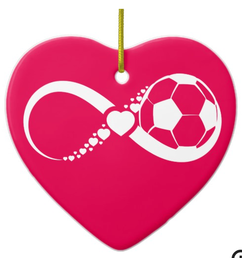 Soccer Love Infinity Heart Ornament