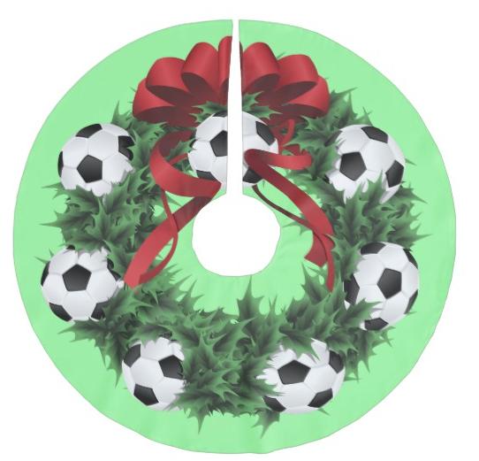 Soccer or Football Wreath Christmas Tree Skirt