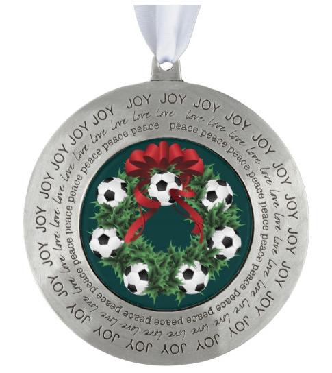 Soccer Christmas Wreath Pewter Ornament