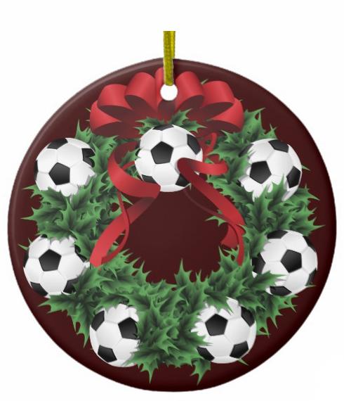 Christmas Soccer or Football Wreath Ceramic Ornament
