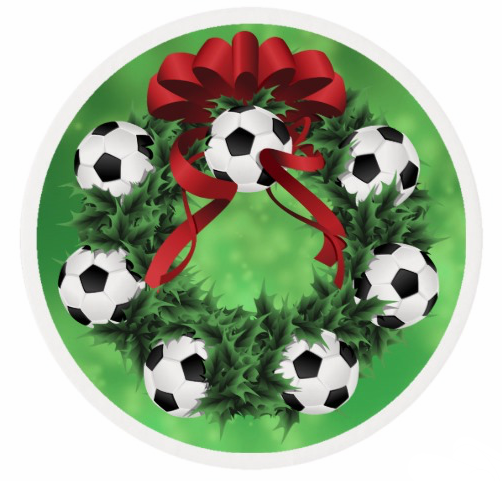 Soccer Christmas Wreath with Green Sparkle Back Edible Frosting Rounds