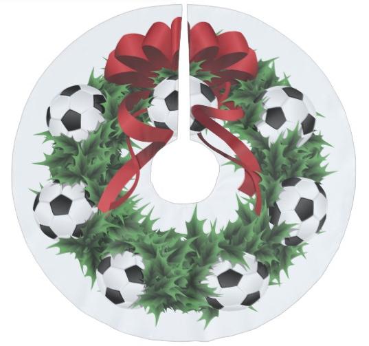 Soccer or Foootball Wreath Christmas Tree Skirt