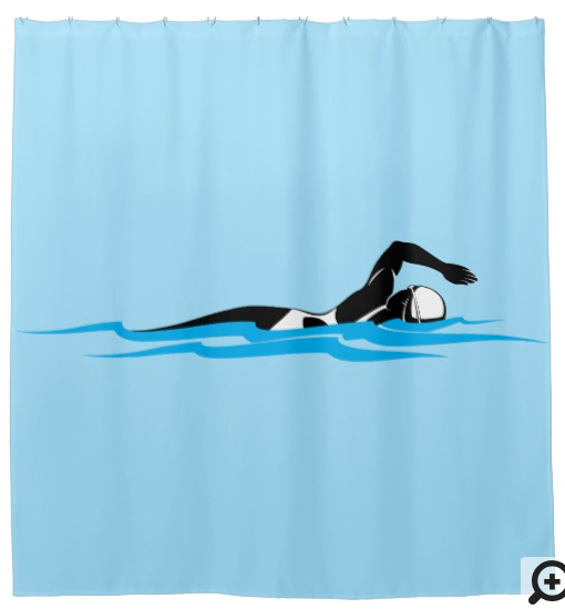 Woman Swimmer Swimming Freestyle Shower Curtain