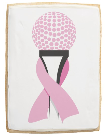 Breast Cancer Awareness Pink Ribbon Golf Ball Shortbread Cookie