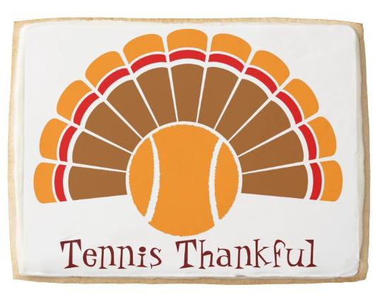 Thanksgiving Tennis Turkey Tail Shortbread Cookie