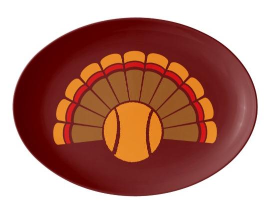 Thanksgiving Tennis Turkey Tail Porcelain Serving Platter