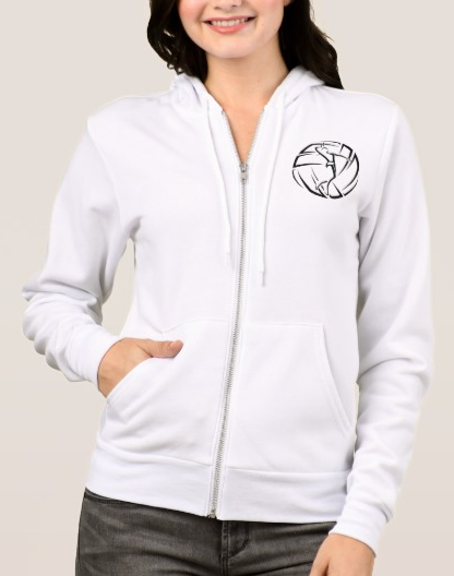 Stylized Female Volleyball Player with Ball Hoodie