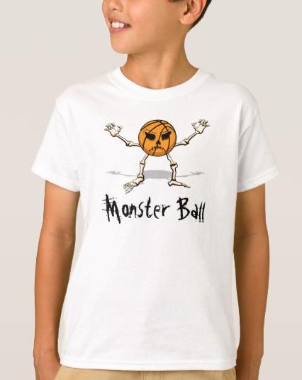 Basketball Monster Halloween Ball kids t-shirt