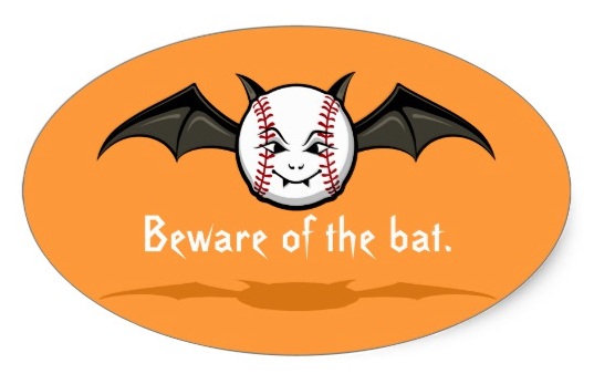 Halloween Baseball Vampire Bat Oval Sticker