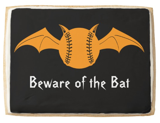 Beware of the Bat Halloween Softball Jumbo Shortbread Cookie