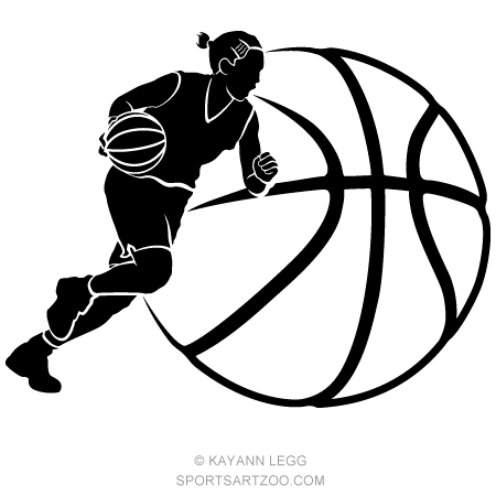 Girl Basketball Dribble Silhouette With Ball Background Sportsartzoo