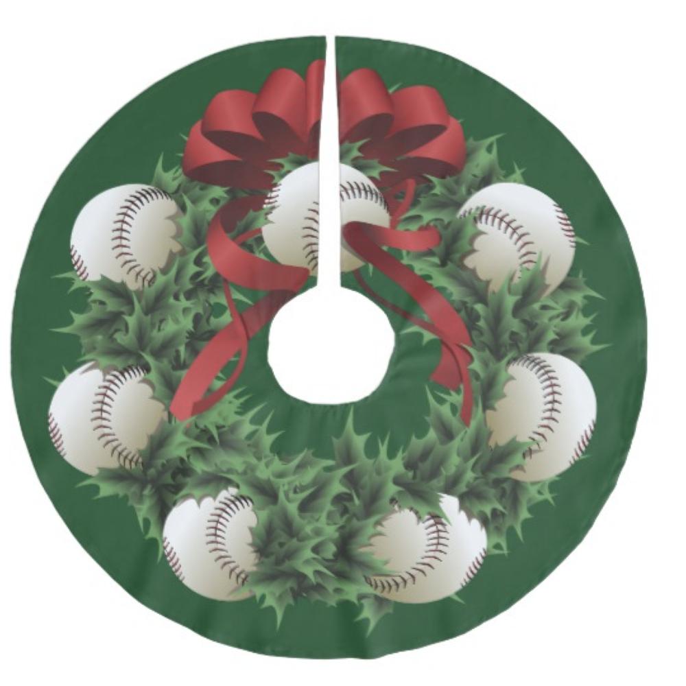 Baseball Wreath Brushed Polyester Tree Skirt