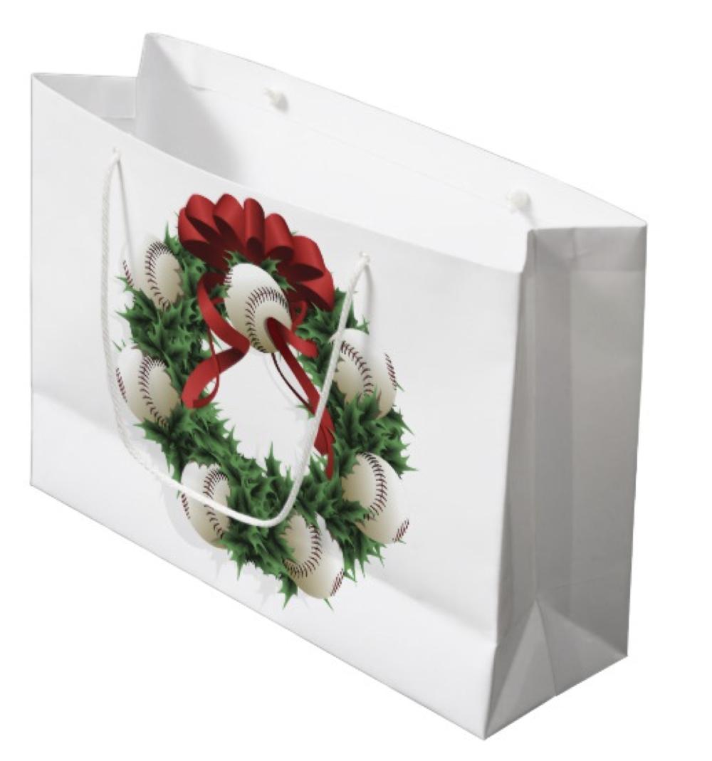 Baseball Wreath Large Gift Bag
