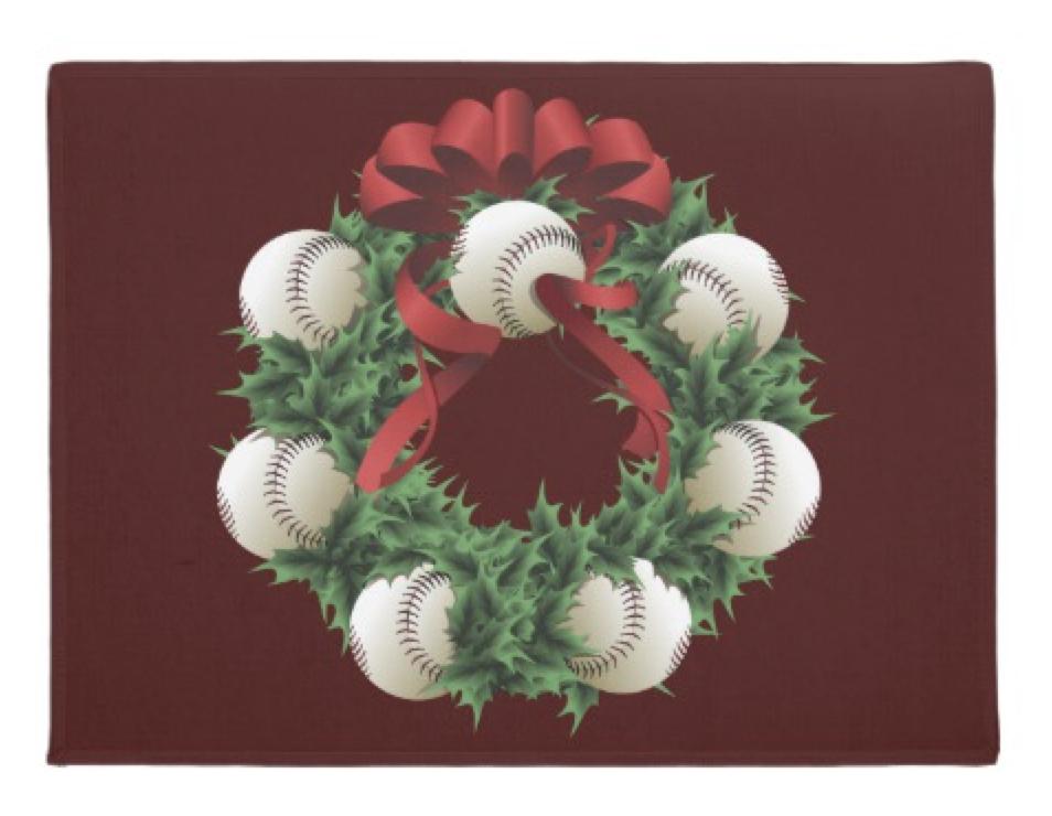 Baseball Wreath Doormat